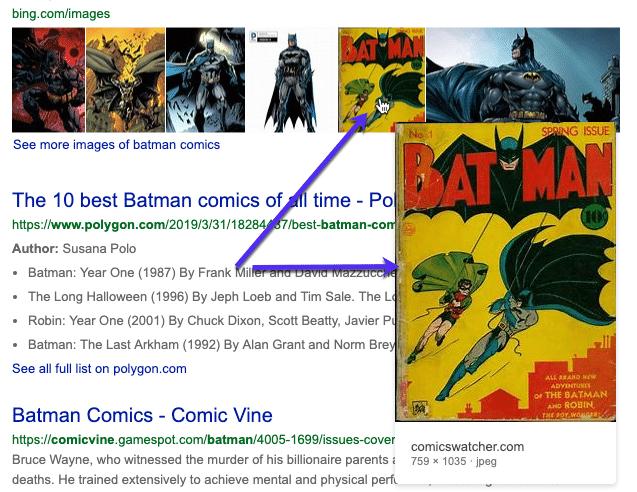 Bingでの画像プレビュー