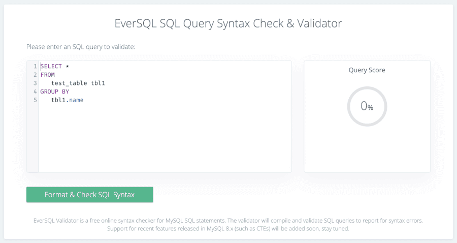 MySQL 1064エラー:EverSQL構文チェッカー