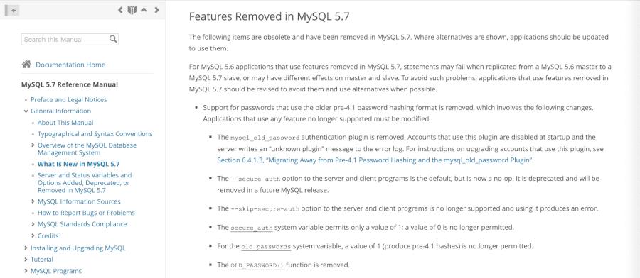 MySQL 1064エラー:廃止されたコマンドを手動で削除する