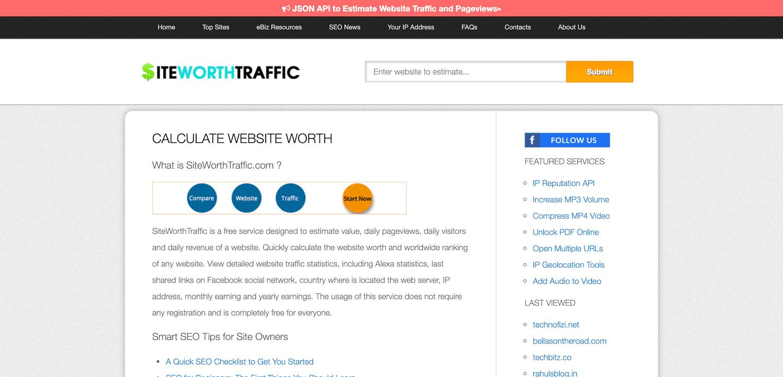 ウェブサイト価値計算ツール「SiteWorthTraffic」