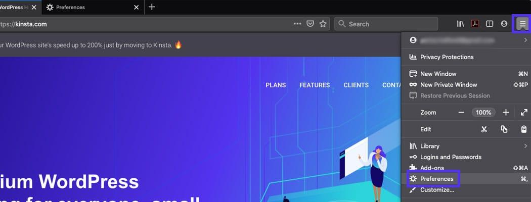 Firefoxメニューのドロップダウン