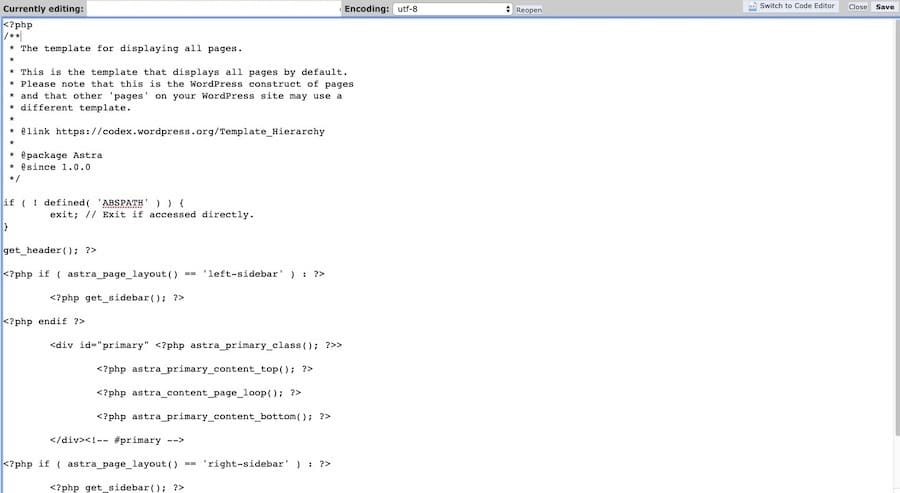 page.phpのコードを新しいファイルにコピー