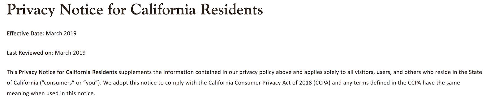 カリフォルニア州固有のプライバシー通知