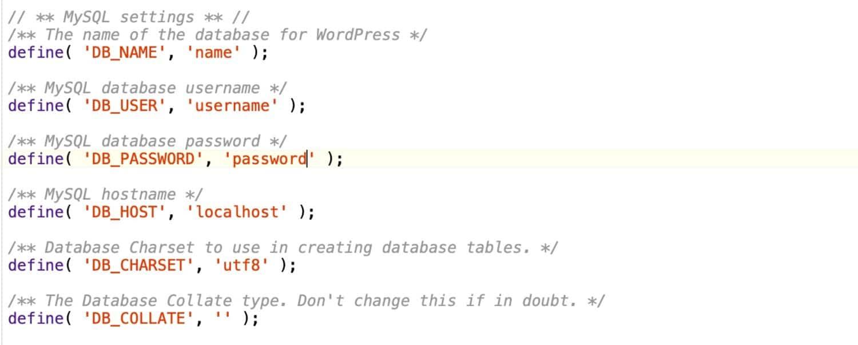 wp-config.phpのデータベースの詳細情報