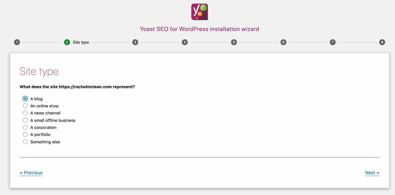 Yoastウィザード画面:サイトの種類