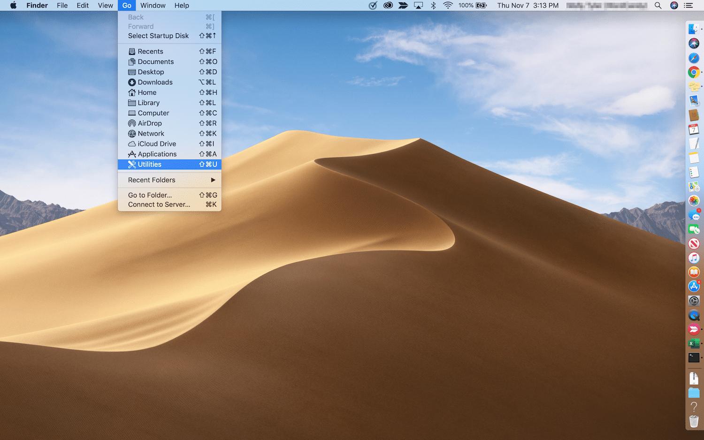 Macの「ユーティリティ」にアクセスする