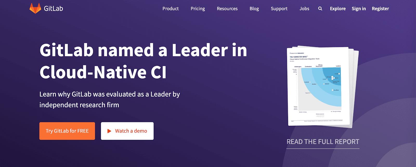 GitLabのホームページ