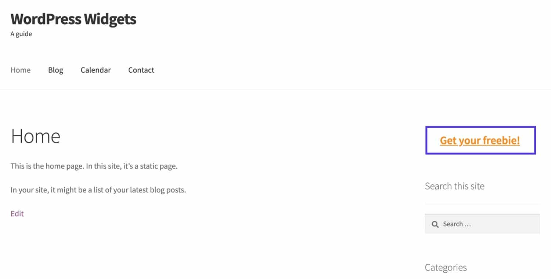 サイトに表示された新しいウィジェット
