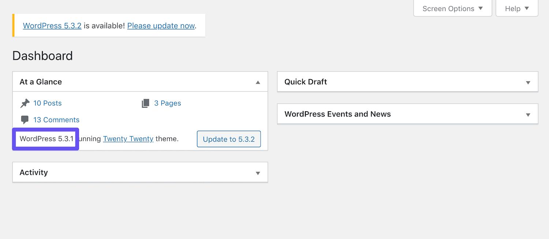 ダウングレードした状態のWordPress