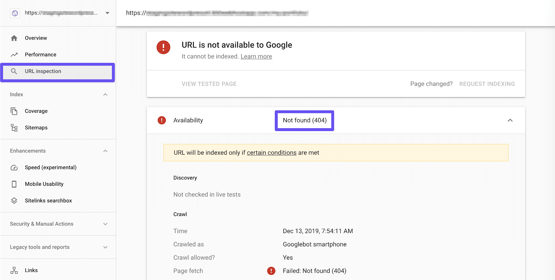 Google Search ConsoleのURL検査ツールを使用:404エラーが判明
