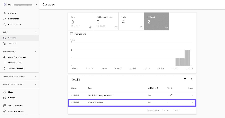 Google Search Consoleのカバレッジレポートに表示された「ページにリダイレクトがあります」