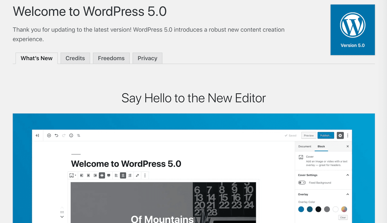WordPress 5.0へのウェルカムメッセージ