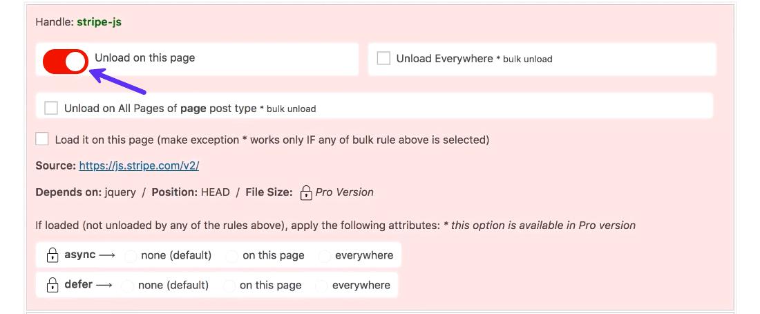 Asset CleanupでStripeの支払い代行システムのJavaScriptを読み込まないようにする