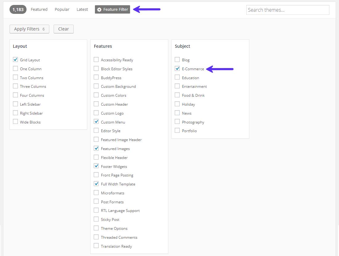 eコマーステーマにフィルターをかけて検索