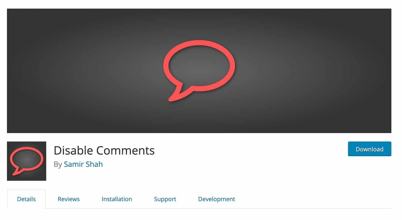 Disable Commentsプラグイン