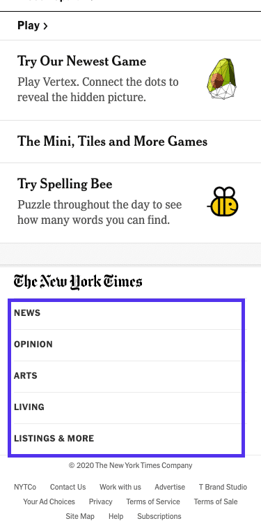 The New York Timesの記事 – フッターメニュー(モバイル版)