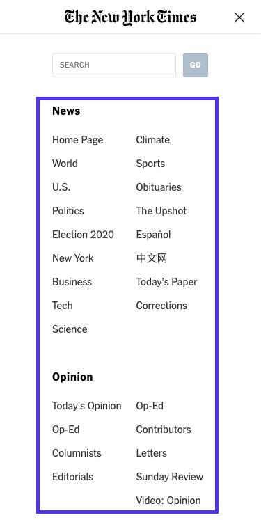 展開したメニュー – The New York Timesのトップ画面(モバイル版)