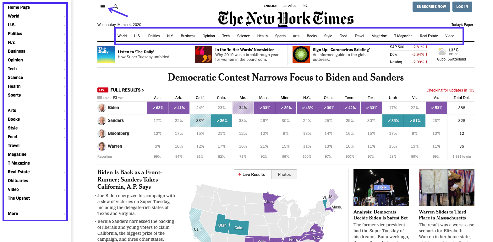 The New York Timesのトップ画面 – ヘッダーメニュー