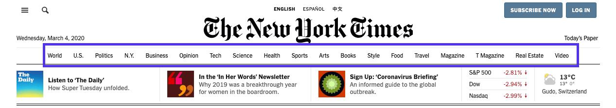 The New York Timesのサイトのメニュー