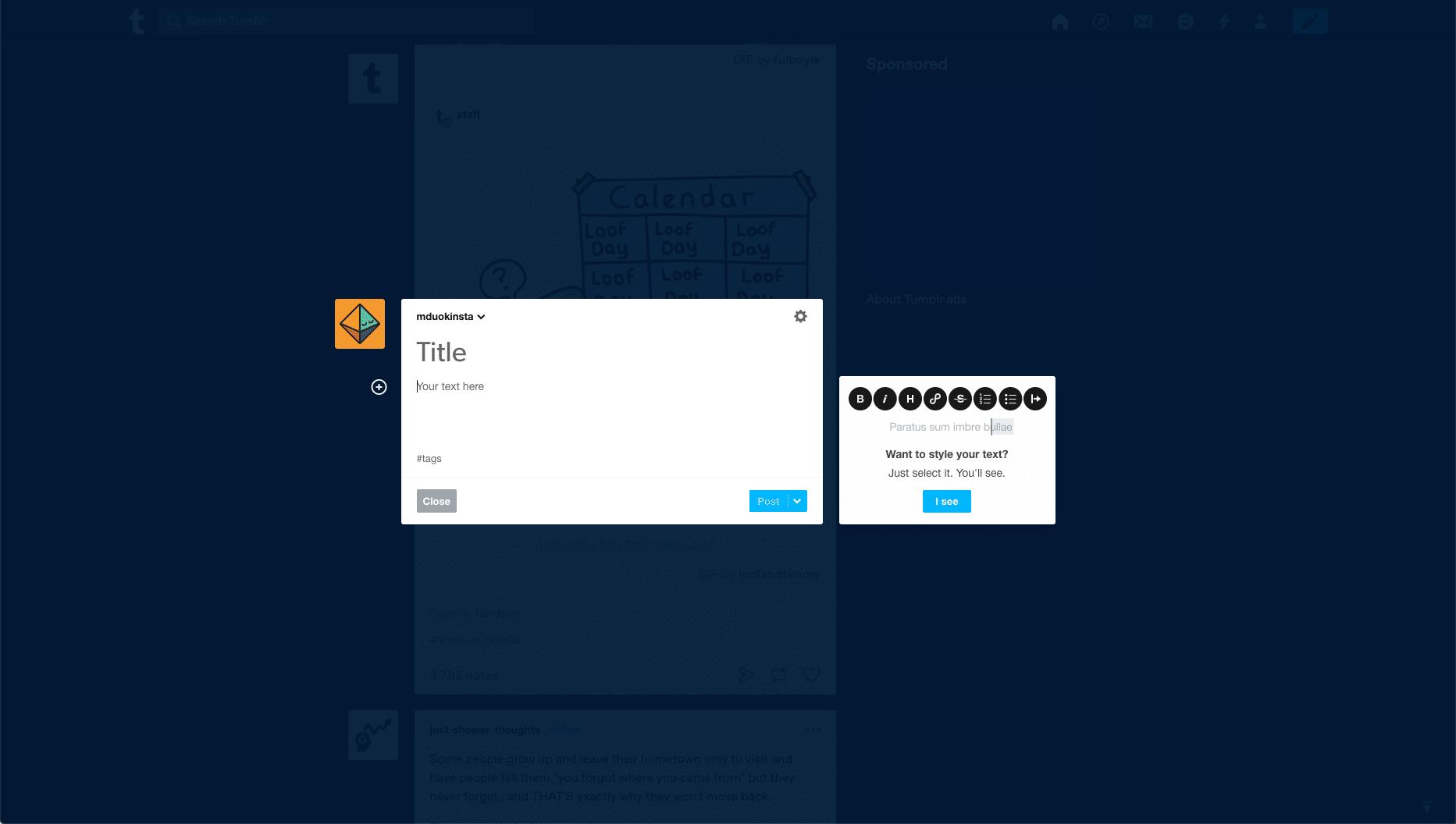 Tumblrのインターフェース
