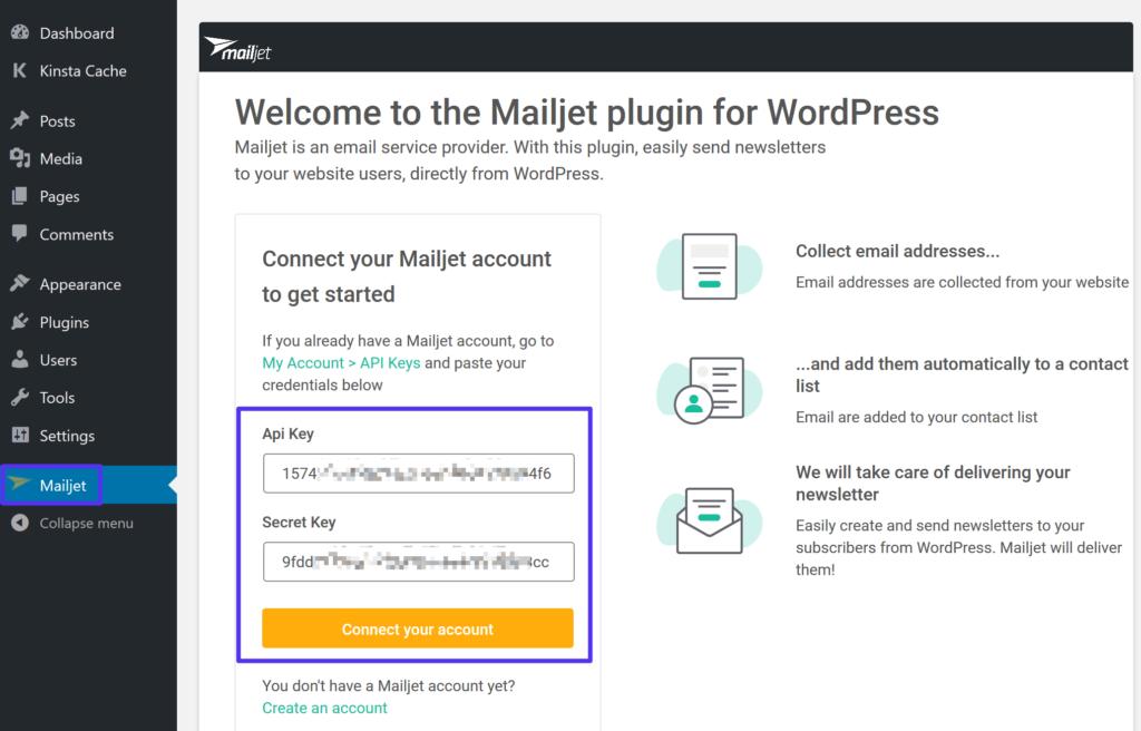 プラグイン設定画面にMailjet APIキーを貼り付け