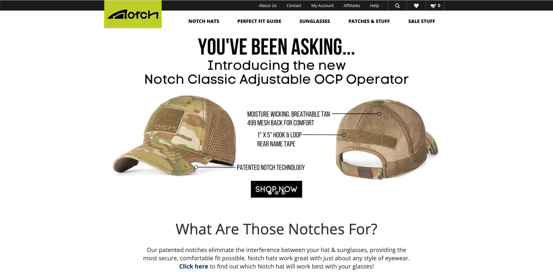 Notch(サングラス着用時に快適な、新しいデザインの帽子)