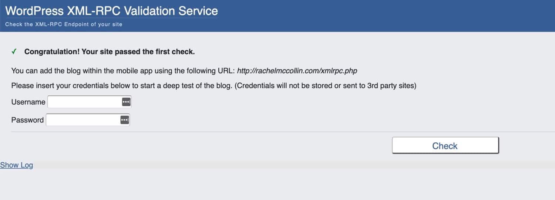 Rachel McCollinのウェブサイトでのXML-RPCチェック