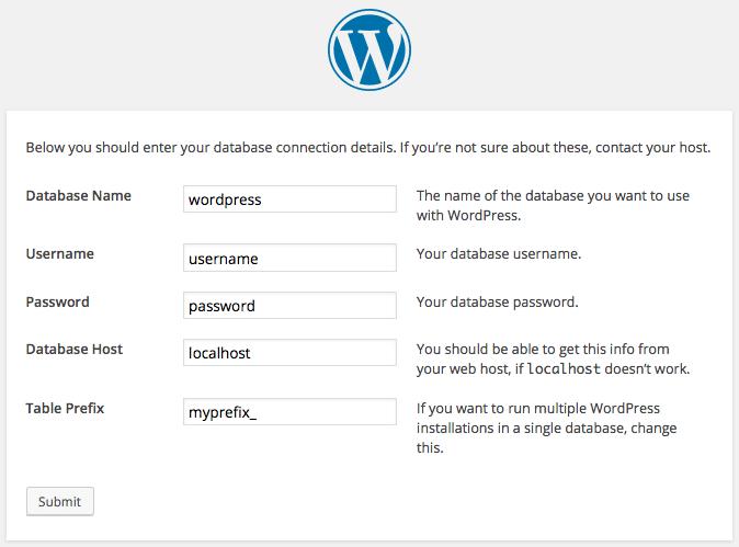 インストールを実行すると、wp-configに保存されるデータを入力するよう求められる