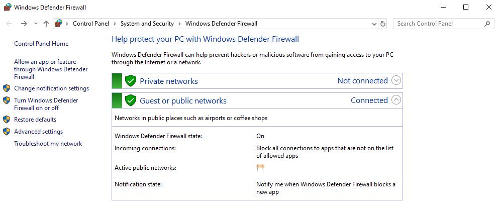 Windows Defenderファイアウォール