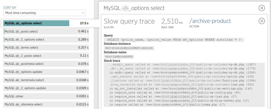 遅いクエリの詳細情報を確認することにより、データベースのどこを探せばいいか分かります。
