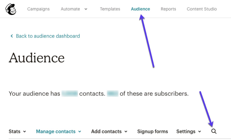 メールマーケティングソフトウェアでメールアドレスを検索する(MailChimpなど)