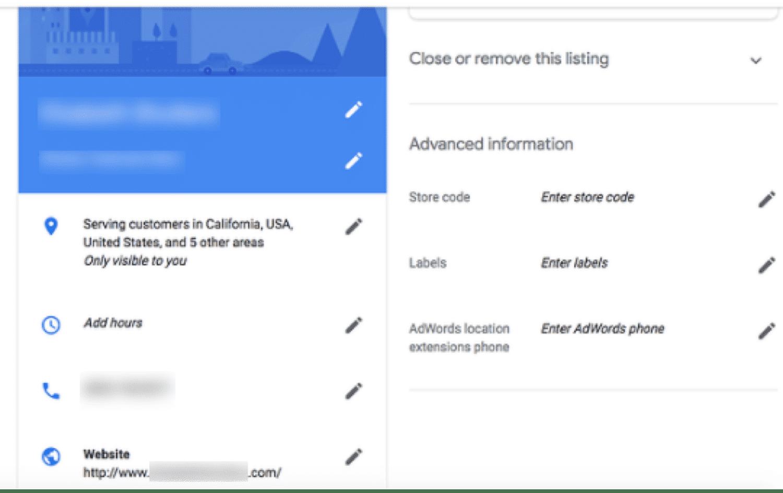 リスティングの情報を編集するためのGoogleマイビジネスダッシュボード