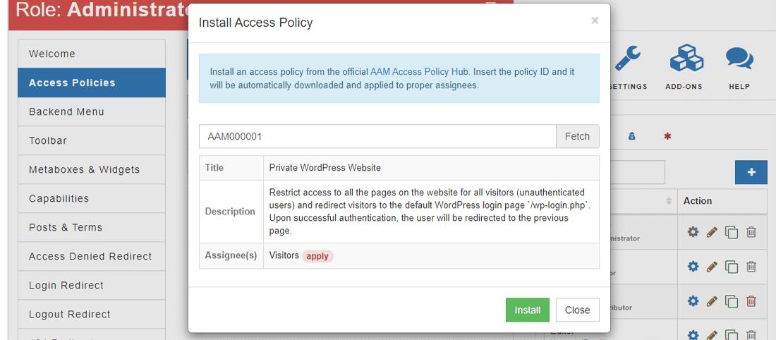 サイトの安全性を維持するために「Access Policy」をインストール