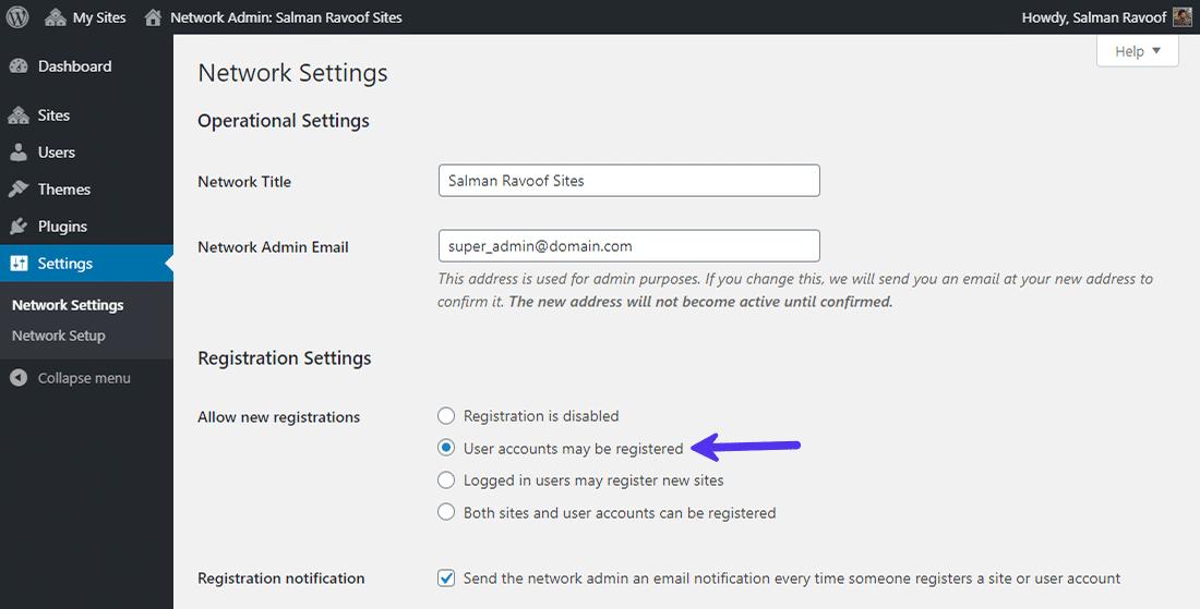 ユーザーがネットワークにアカウントを登録することを許可