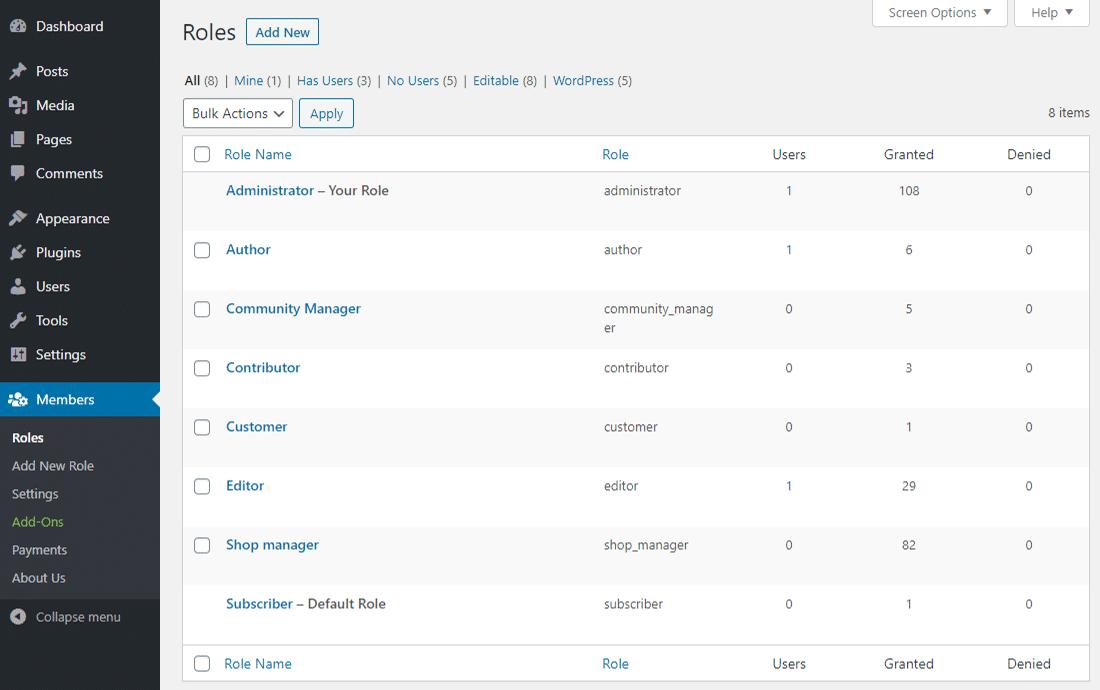 Membersの「Roles」画面