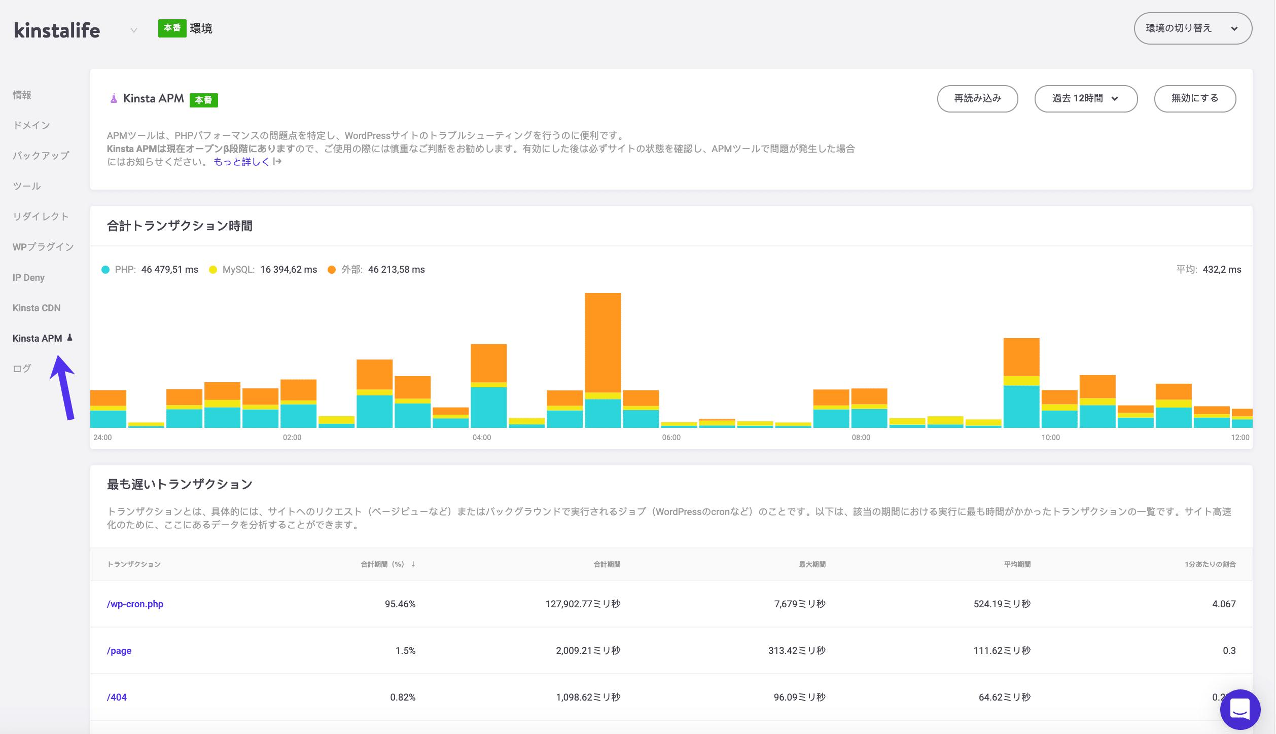 KinstaAPMツールのベータ版のスクリーンショット