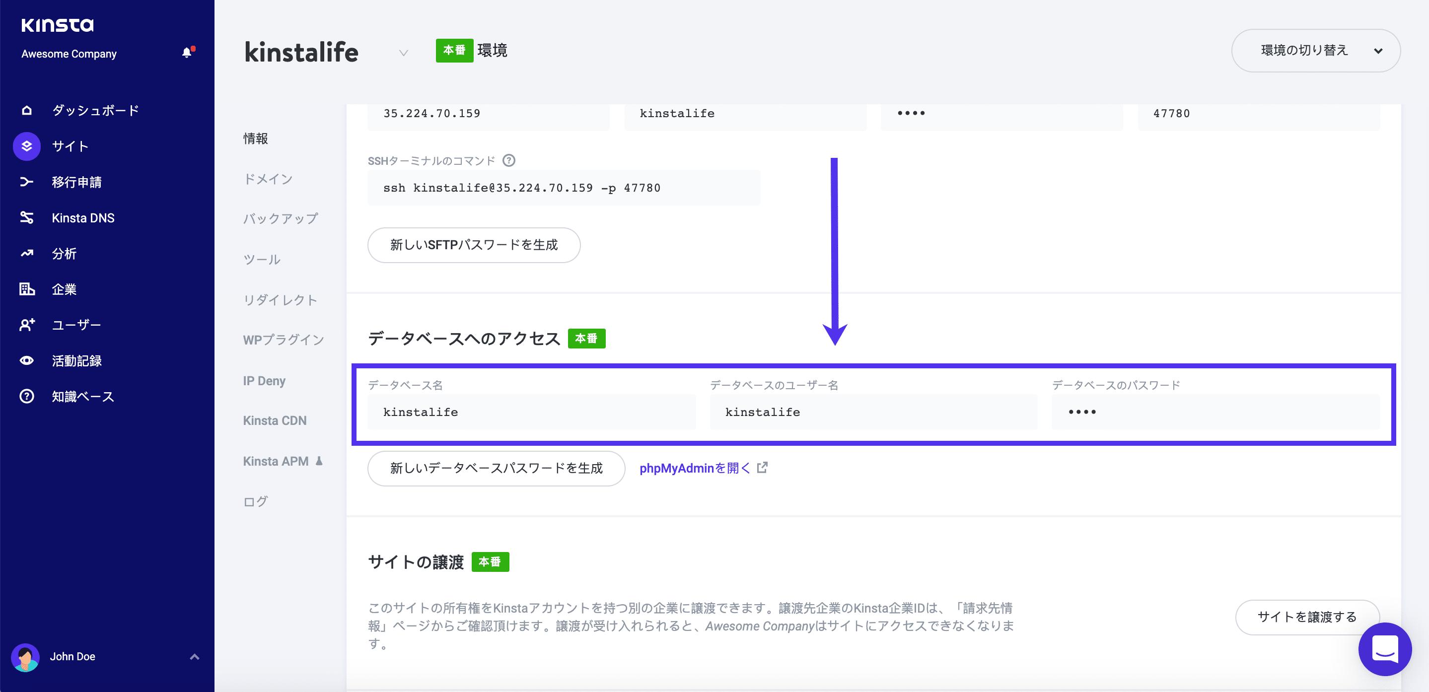 Kinstaのデータベースアクセス情報