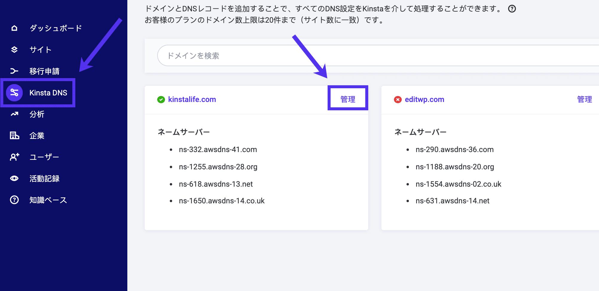 KinstaでのDNSレコードの編集