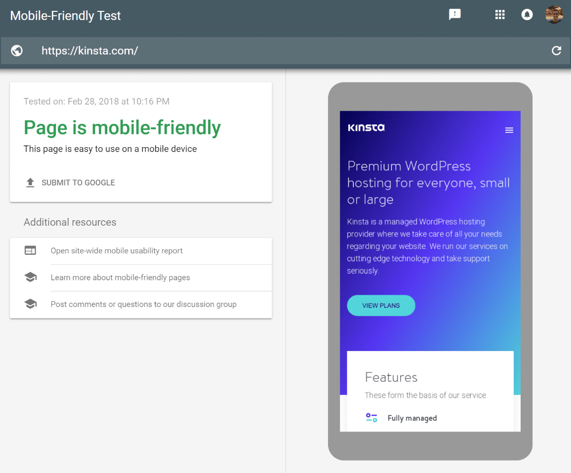 Google mobile-friendly testtool