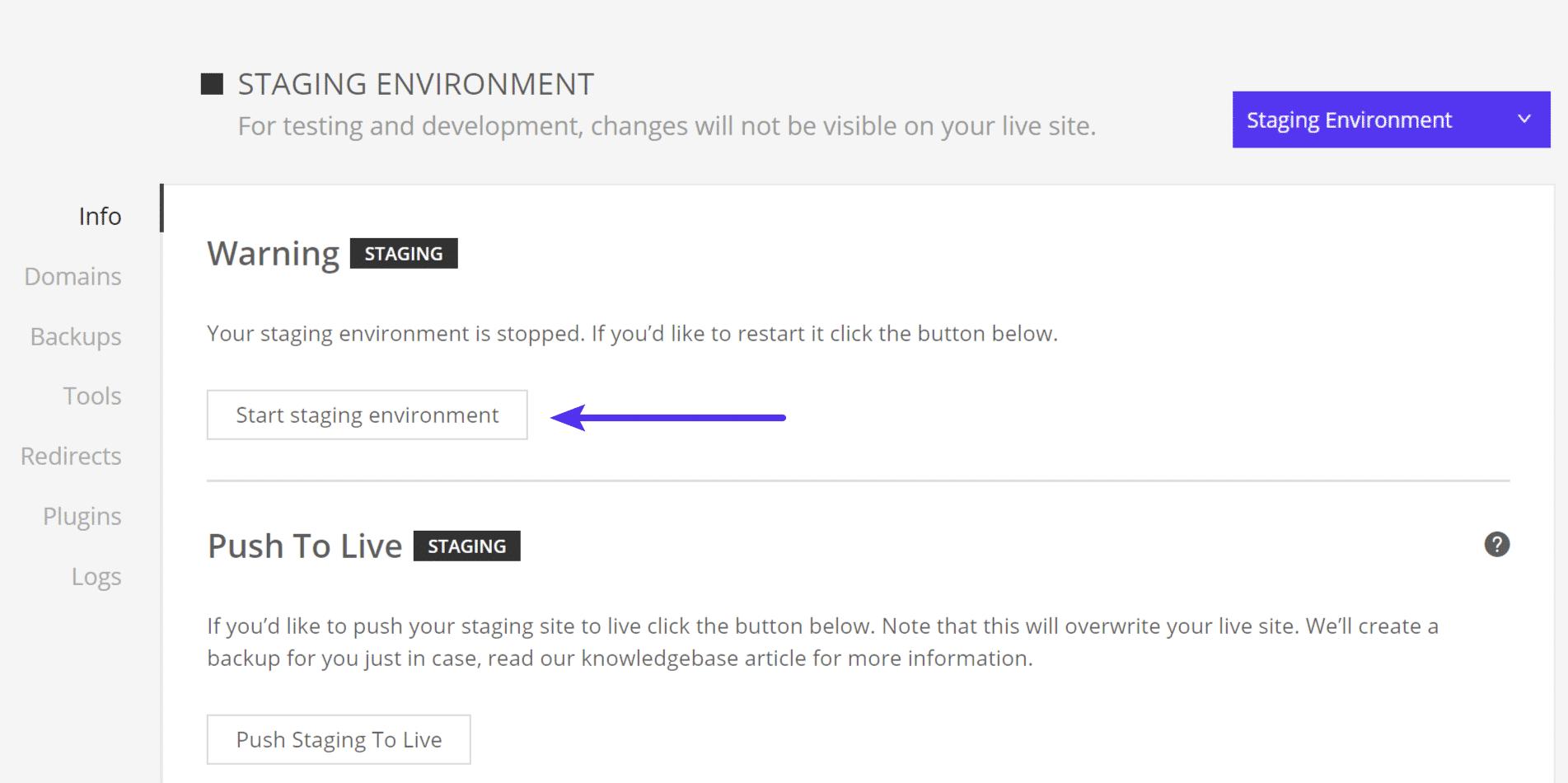 Start staging environment