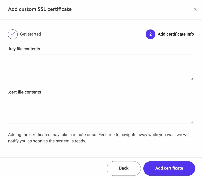 Een aangepast SSL certificaat toepassen.