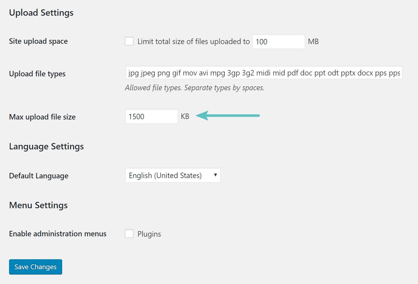 Wijzig de maximale bestandsgrootte voor uploads voor een Multisite