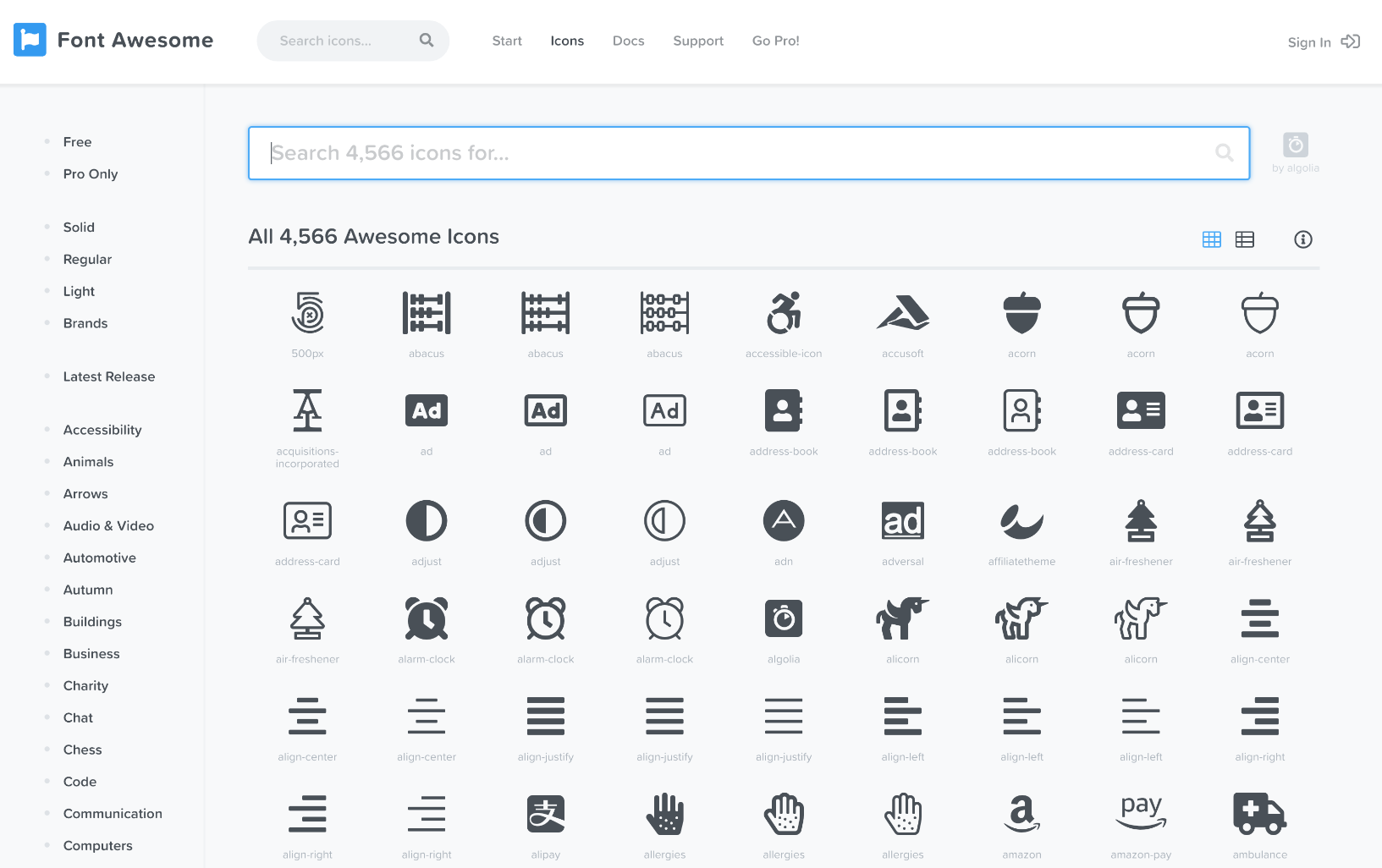 Font Awesome iconen