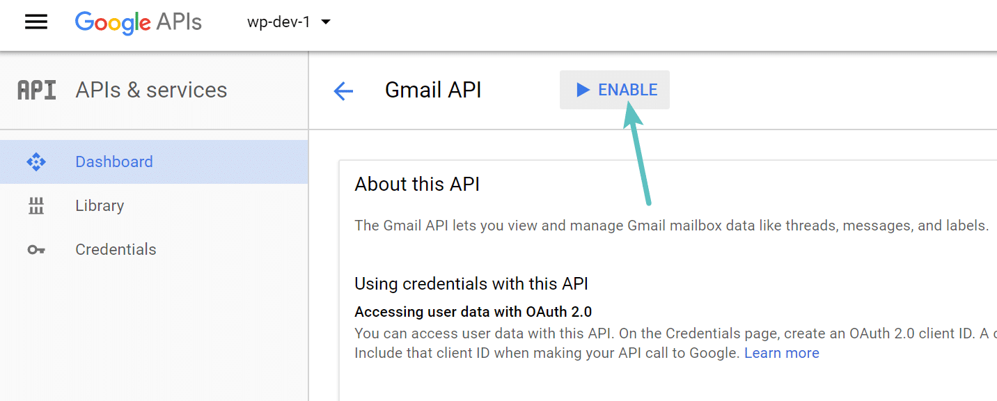 Enable Gmail API