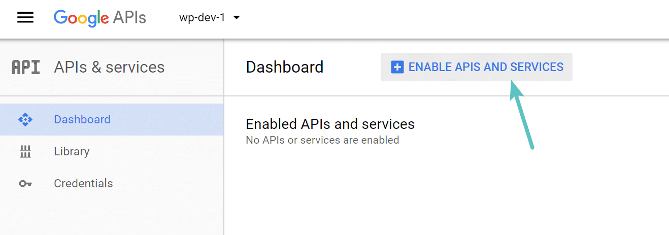 Google Project enable APIs