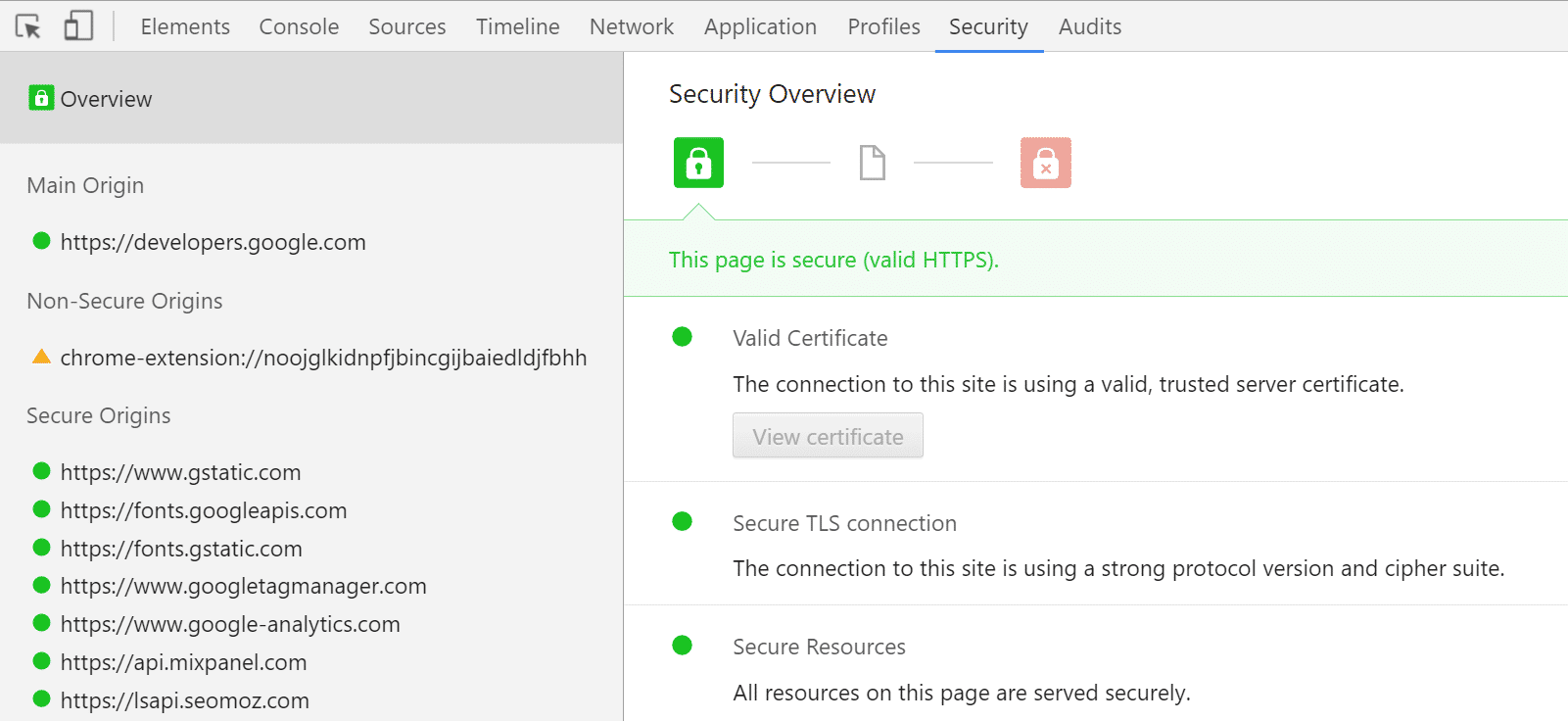 Controleer HTTPs in Chrome DevTools