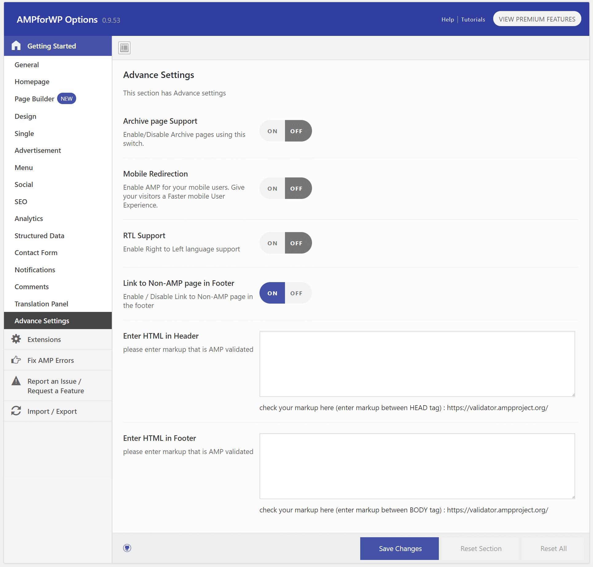 AMP advanced settings