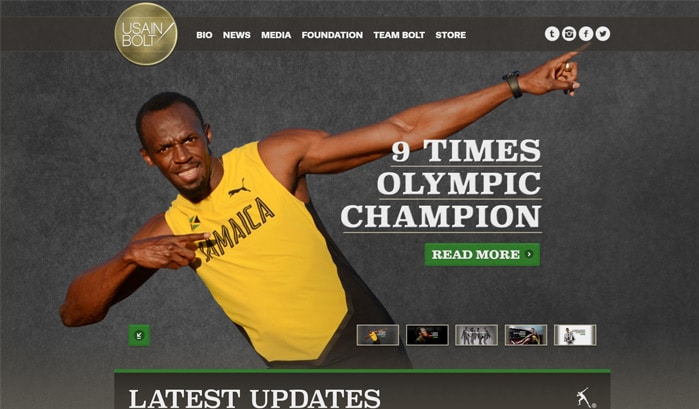 usain bolt wordpress site