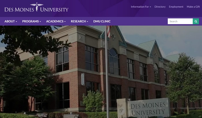 des moines university wordpress site
