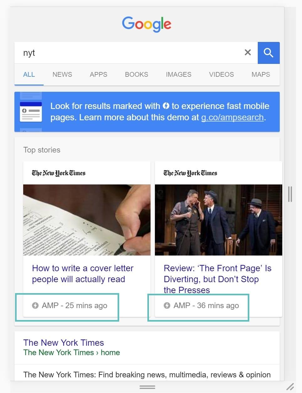 Google AMP-carrousel